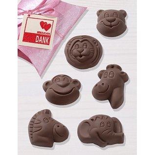 GIESSFORM / MOLDS ACCESOIRES Chocoladevorm, Safari, 4,5 x 5,5 cm, 6 vormen