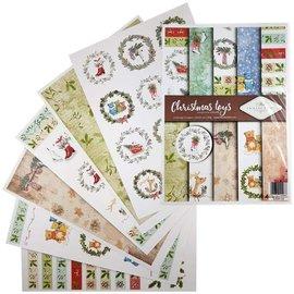 Karten und Scrapbooking Papier, Papier blöcke SET de papier, A4, motifs de Noël, 5 feuilles, 12 étiquettes, 200 g/m²,