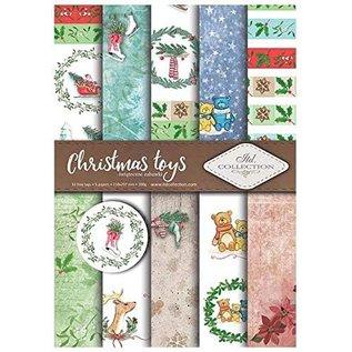 Karten und Scrapbooking Papier, Papier blöcke Papieren SET, A4, Kerstmotieven, 5 vellen, 12 labels, 200 gsm,