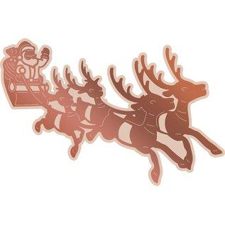 CREATIVE EXPRESSIONS und COUTURE CREATIONS Stansing, foliering og preging av sjablong, jul, juleslede med julenissen