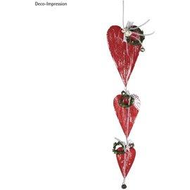 Coeurs en MDF, 18 x 10 cm, 12 x 7 cm, 8 x 5 cm, 3 pièces