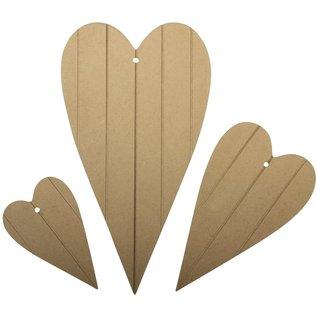 MDF hartjes, 18 x 10 cm, 12 x 7 cm, 8 x 5 cm, 3 stuks