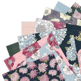 Docrafts / Papermania / Urban Bloc design, pleine floraison, 50 imprimés recto-verso, 30,5 x 30,5 cm, 160 g/m²