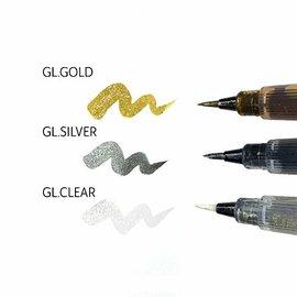 FARBE / MEDIA FLUID / MIXED MEDIA Stylo pinceau avec une touche de paillettes, avec un choix de transparent, d'or et d'argent