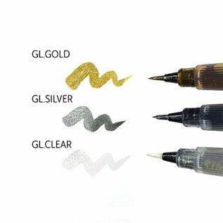 FARBE / MEDIA FLUID / MIXED MEDIA Børstepenn med et snev av glitter, med et utvalg av gjennomsiktig, gull og sølv