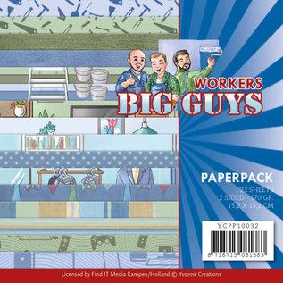 Yvonne Creations Big Guys, Workers, papierblok, 15.2 x 15.2 cm, 23 vellen, 170 gr