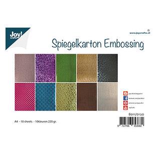 Joy!Crafts / Jeanine´s Art, Hobby Solutions Dies /  Reliëf spiegelkarton, A4, 10 vellen in 10 kleuren, 220 g/m²,