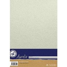 AURELIE Metallic Karton, 10 Blatt, Vintage Metallic Karton, weiß, 250gsm, A4 Format,