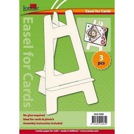 Knutselset, kaartenstandaard, 3 stuks, gemaakt van cardstock, crème kleur, ideaal voor kaarten en foto's!