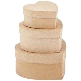 3 hartvormige dozen van papier-maché, 3 stuks, 10 x 12,5 x 15 cm, bruin