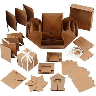 BASTELSETS / CRAFT KITS Geschenkdoos met 35 delen, formaat explosiedoos: 7x7x7,5 + 12x12x12 cm