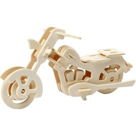 BASTELSETS / CRAFT KITS Motocicleta 3D, fabricada en madera clara, para montar, entrega desmontada