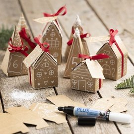 BASTELSETS / CRAFT KITS Handicraft set: Advent calendar with 24 houses and pine trees made of paper mache
