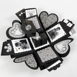 BASTELSETS / CRAFT KITS Gift box with 35 parts, explosion box format: 7x7x7.5 + 12x12x12 cm