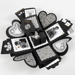BASTELSETS / CRAFT KITS Geschenkbox mit 35 Teile , Explosion Box Format: 7x7x7,5+12x12x12 cm