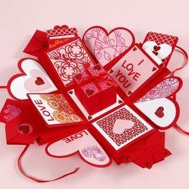 BASTELSETS / CRAFT KITS Caja regalo con 35 piezas, formato caja explosión: 7x7x7,5 + 12x12x12 cm