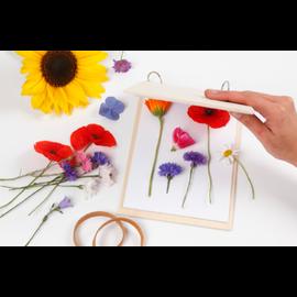 Pressa per fiori in legno chiaro con anelli di metallo chiudibili e 20 pagine bianche (120 g)
