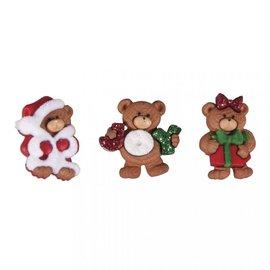 Embellishments / Verzierungen Knopen, Beary Christmas 2,5cm, 3 stuks
