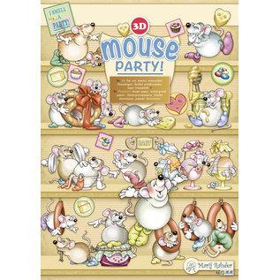BASTELSETS / CRAFT KITS 3D uitsnede, mouse party, de complete SET!