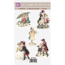 Bilder, 3D Bilder und ausgestanzte Teile usw... Vernice lucida 3D, immagini, motivi natalizi, vintage, nostalgia, 5 pezzi