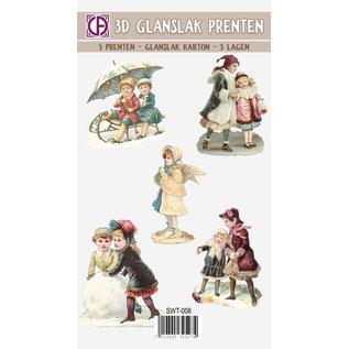 Bilder, 3D Bilder und ausgestanzte Teile usw... 3D glanslak, afbeeldingen, kerstmotieven, vintage, nostalgie, 5 stuks
