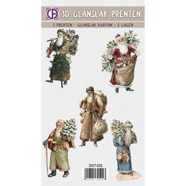 Bilder, 3D Bilder und ausgestanzte Teile usw... 3D gloss varnish, pictures, Christmas motifs, vintage, nostalgia, 5 pieces