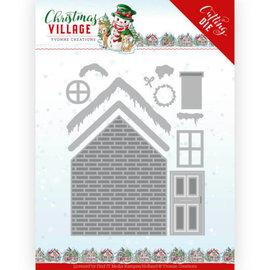 Yvonne Creations Stansning og prægning skabelon, vinter, jul, bygge et hus