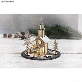 BASTELSETS / CRAFT KITS 1 kit de madera, iglesia de Navidad, 37 piezas