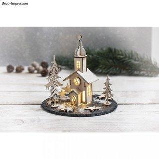 BASTELSETS / CRAFT KITS 1 wooden kit, Christmas church, 37 parts