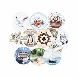 11 decoratieve etiketten, voorbij de zee,