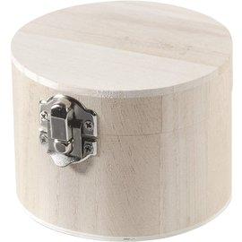 Holz, MDF, Pappe, Objekten zum Dekorieren Dose aus Holz, mit Klappdeckel und Verschluss, Durchmesser 9,5 x 7 cm hoch