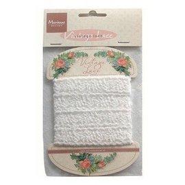 Marianne Design Vintage blonder, dekorativt blonderbånd, hvit, 150 cm!