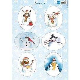Picture sheet, A4, snowmen