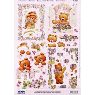 Bilder, 3D Bilder und ausgestanzte Teile usw... A4 Stanzbogen 3D + 1 Hintergrundbogen: Bären