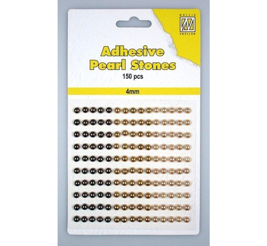 150 Selbstklebende Perlen, gold