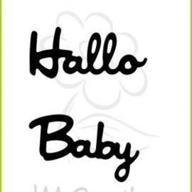 """Spellbinders und Rayher Ponsen en embossing sjablonen: Duitse tekst: """"Hello"""" en """"Baby"""""""
