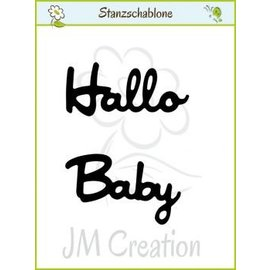 """Spellbinders und Rayher Stanzschablonen: deutsche Text: """"Hallo"""" und """"Baby"""""""
