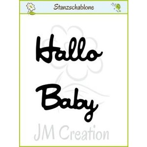 """Spellbinders und Rayher Punching and embossing templates: German text: """"Hello"""" and """"Baby"""""""