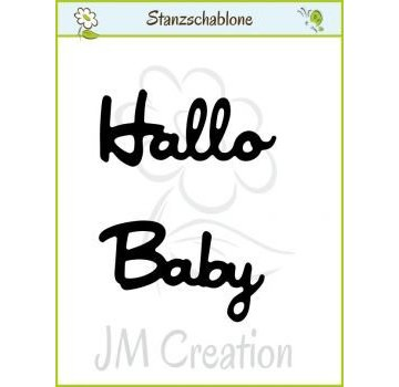 "Spellbinders und Rayher Punching and embossing templates: German text: ""Hello"" and ""Baby"""