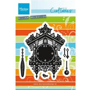 Marianne Design Ponsen en embossing sjabloon: klok van de koekoek