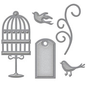 Spellbinders und Rayher Punching and embossing template: label, cage birds and swirl