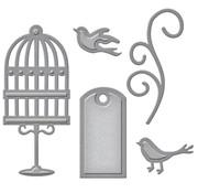 Spellbinders und Rayher Stansning og prægning skabelon: label, stuefugle og hvirvel