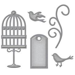 Troquelado y estampado en relieve plantilla: etiqueta, pájaros de jaula y remolinos