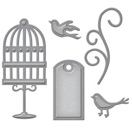 Spellbinders und Rayher Ponsen en embossing sjabloon: etiket, siervogels en werveling