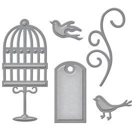 Spellbinders und Rayher Troquelado y estampado en relieve plantilla: etiqueta, pájaros de jaula y remolinos
