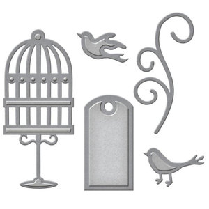 Spellbinders und Rayher Poinçonnage et gaufrage modèle: étiquette, oiseaux de cage et tourbillon