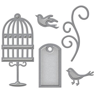 Spellbinders und Rayher Stanzschablonen: Label, Käfig, Vögel und swirl