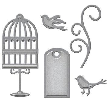 Spellbinders und Rayher Punzonatura e goffratura modello: etichetta, uccelli da gabbia e turbolenza