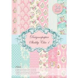 Karten und Scrapbooking Papier, Papier blöcke Designerpapierset Shabby Chic - LETZTE