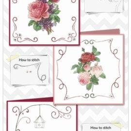 BASTELSETS / CRAFT KITS Smukke broderikort med roser